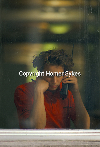 City of London worker dress down Friday using a old fashioned 'Brick'mobile phone. UK 1990s,1992