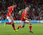 Ben Woodburn of Wales celebrates (r) scoring the first goal during the World Cup Qualifying Group D match at the Cardiff City Stadium, Cardiff. Picture date 2nd September 2017. Picture credit should read: Simon Bellis/Sportimage