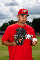Batavia Muckdogs pitcher Iden Nazario #15 poses for a photo before the first day of practice for the start of the NY-Penn League at the Dwyer Stadium in Batavia, New York;  June 13, 2011.  (Mike Janes/Four Seam Images)