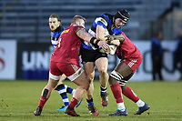 Jack Edmondson of Bath United takes on the Harlequins A defence. Aviva A-League match, between Bath United and Harlequins A on March 26, 2018 at the Recreation Ground in Bath, England. Photo by: Patrick Khachfe / Onside Images