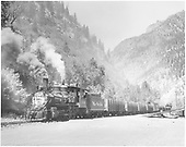 3/4 fireman's-side view of D&amp;RGW #318 with a freight at Ouray.<br /> D&amp;RGW  Ouray, CO  Taken by Krause, John - 8/1952