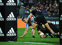 Pablo Matera tries to get to the tryline during the Rugby Championship match between the NZ All Blacks and Argentina Pumas at Yarrow Stadium in New Plymouth, New Zealand on Saturday, 9 September 2017. Photo: Dave Lintott / lintottphoto.co.nz