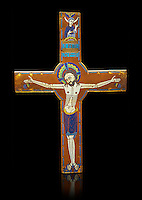 Medieval enamelled crucifix, circa end of 12th century from Limoges, enamel on gold. AD. Inv OA 2956, The Louvre Museum, Paris.