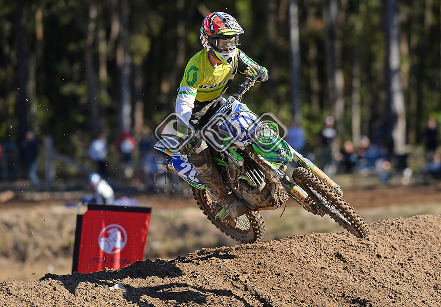 Lachlan Davis / Kawasaki<br /> MX Nationals / Round 6 / MXD<br /> Australian Motocross Championships<br /> Raymond Terrace NSW<br /> Sunday 5 July 2015<br /> &copy; Sport the library / Jeff Crow