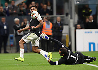Calcio, Serie A: Inter Milano - Juventus, Giuseppe Meazza stadium, October 6 2019.<br /> Juventus Paulo Dybala (l) in action with Inter's goalkeeper Samir Handanovic (r) during the Italian Serie A football match between Inter and Juventus at Giuseppe Meazza (San Siro) stadium, October 6, 2019.<br /> UPDATE IMAGES PRESS/Isabella Bonotto