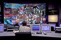 Moscow, Russia, September 1998..Gazprom headquarters complex..Central control room.
