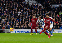 Liverpool's Mohamed Salah takes the penalty to give Liverpool the lead.<br /> <br /> Photographer David Horton/CameraSport<br /> <br /> The Premier League - Brighton and Hove Albion v Liverpool - Saturday 12th January 2019 - The Amex Stadium - Brighton<br /> <br /> World Copyright © 2018 CameraSport. All rights reserved. 43 Linden Ave. Countesthorpe. Leicester. England. LE8 5PG - Tel: +44 (0) 116 277 4147 - admin@camerasport.com - www.camerasport.com