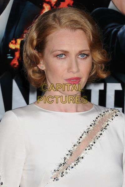 """Mireille Enos.""""Gangster Squad"""" Los Angeles Premiere held at Grauman's Chinese Theatre, Hollywood, California, USA..January 7th, 2013.headshot portrait white beads beaded silver slit slash .CAP/ADM/BP.©Byron Purvis/AdMedia/Capital Pictures."""