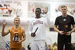 COLLEGE STATION, TX - MARCH 11: Wolf Mahler of Texas, Lindon Victor of Texas A&M, and Karl Saluri of Georgia are pictures with their trophies following the men's heptathlon during the Division I Men's and Women's Indoor Track & Field Championship held at the Gilliam Indoor Track Stadium on the Texas A&M University campus on March 11, 2017 in College Station, Texas. (Photo by Michael Starghill/NCAA Photos/NCAA Photos via Getty Images)