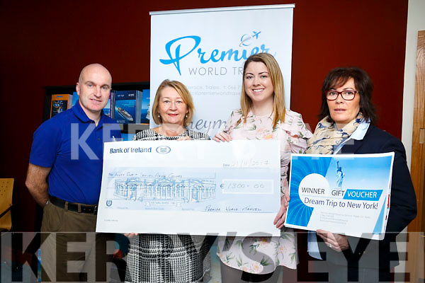 Premier World Travel ivy Terrace Tralee Presented a cheque to  the Kerry rape and sexual abuse centre for €1300, and Catriona Walsh, Lixnaw winner of a holiday competition in association with the Kerry rape and sexual abuse centre. Pictured L-R Verners Tess, Premier Irish Golf Tours, Vera O Leary, Kerry rape and sexual abuse centre, Norma Moriarty, Premier World Travel, Catriona Walsh, Lixnaw