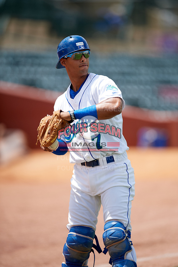 Lexington Legends catcher MJ Melendez (7) during warmups before a game against the Rome Braves on May 23, 2018 at Whitaker Bank Ballpark in Lexington, Kentucky.  Rome defeated Lexington 4-1.  (Mike Janes/Four Seam Images)