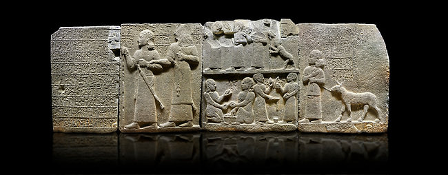 """Hittite monumental relief sculpted orthostat stone panel of Royal Buttress. Basalt, Karkamıs, (Kargamıs), Carchemish (Karkemish), 900-700 B.C. Anatolian Civilisations Museum, Ankara, Turkey.<br /> <br /> Hieroglyph panel1 (left) - Discourse of Yariris. Yariris presents his predecessor, the eldest son Kamanis, to his people. <br /> Second From left panel 2  -  King Araras holds his son Kamanis from the wrist. King carries a sceptre in his hand and a sword at his waist while the prince leans on a stick and carries a sword on his shoulder. <br /> Hieroglyphs reads; """"This is Kamanis and his siblings.) held his hand and despite the fact that he is a child, I located him on the temple. This is Yariris' image"""".  <br /> <br /> Panel 3 - This panels scene showing 8 out of 10 children of the King, the hieroglyphs reads as follows: """"Malitispas, Astitarhunzas, Tamitispas,Isikaritispas, Sikaras, Halpawaris, Ya hilatispas"""". Above, there are three figures holding knucklebones (astragalus) and one figure walking by leaning on a stick; below are two each figures playing the knucklebones and turning whirligigs.<br />  <br /> Panel 4 - The queen carries her youngest son. The hieroglyphs located above read; """"and this is Tuwarsais; the prince desired by the ruler, whose exclusiveness has been exposed"""". While the queen carries her son in her lap, she holds the rope of the colt coming behind with her other hand. The muscles of the colt are schematic. <br /> <br /> Against a black background."""
