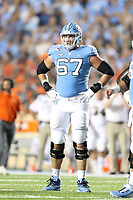 CHAPEL HILL, NC - SEPTEMBER 07: Charlie Heck #67 of the University of North Carolina during a game between University of Miami and University of North Carolina at Kenan Memorial Stadium on September 07, 2019 in Chapel Hill, North Carolina.