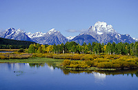 Grand Teton National Park with Jackson Lake and fall colors in  Wyoming, USA