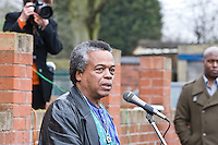 Bini Brown speaking at the Malcom X, Marshall Street, Smethwick, Blue Plaque unveiling
