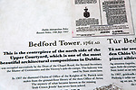 Information panel about Bedford Tower, Dublin Castle, city of Dublin, Ireland, Irish Republic