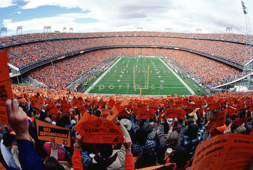 An overall view of Mile High Stadium from the 1980 season. Mile High Stadium is in Denver, Colorado and is the home field for the Denver Broncos.(SportPics)