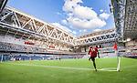 Stockholm 2014-07-31 Fotboll Europa League IF Brommapojkarna - Torino FC :  <br /> Vy &ouml;ver Tele2 Arena under matchen mellan Brommapojkarna och Torino n&auml;r Brommapojkarnas Nicklas B&auml;rkroth sl&aring;r en h&ouml;rna<br /> (Foto: Kenta J&ouml;nsson) Nyckelord:  BP Brommapojkarna IFB Tele2 Arena Europa League Torino FC TFC Italien Itay inomhus interi&ouml;r interior