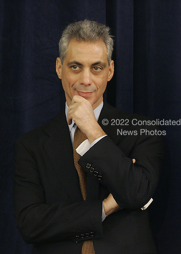 Chicago, IL - December 3, 2008 -- Incoming White House Chief of Staff Rahm Emmanuel watches as United States President-elect Barack Obama announces Secretary of Commerce designee and New Mexico Governor Bill Richardson at news conference in Chicago on December 3, 2008. .Credit: Brian Kersey - Pool via CNP
