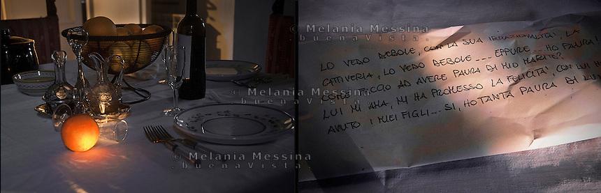 Photo taken on 20th may 2014, inspired by words and emotions of G. victim of domestic violence by the husband. Above the translation of her words: &quot;I see him weak, with his being irrational, his cruelness, I see him weak... still I feel fear! How can I fear my husband? He loves me, he promises me happiness, he is the father of my children ...Yes I'm really scared!&quot;<br /> foto ispirata dai pensieri di G. vittima di violenza domestica: Lo vedo debole, con la sua irrazionalit&agrave;, la cattiveria, lo vedo debole...eppure ho paura! Come faccio ad avere paura di mio marito? Lui mi ama mi ha promesso la felicit&agrave;, con lui ho avuto i miei figli...si, ho tanta paura di lui!&quot;