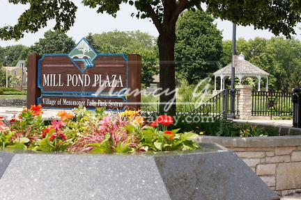 Menomonee Falls Mill Pond Plaza Park and sign
