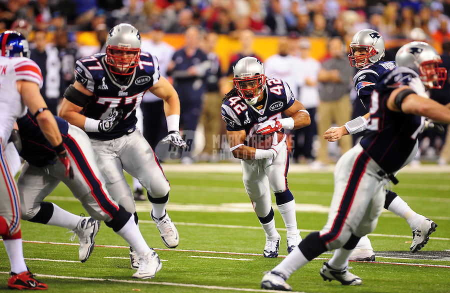 Feb 5, 2012; Indianapolis, IN, USA; New England Patriots running back BenJarvus Green-Ellis (42) during the first half of Super Bowl XLVI against the New York Giants at Lucas Oil Stadium.  Mandatory Credit: Mark J. Rebilas-