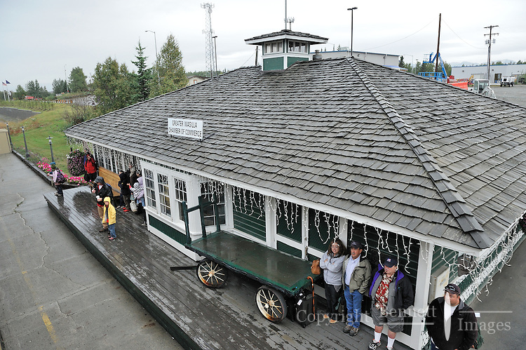 Passengers wait to board the train at the Wasilla Depot. The Alaska Railroad's Denali Star train runs between Anchorage and Fairbanks, with Denali one of the stops along the way.