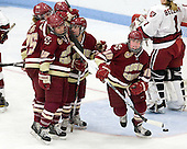 Jackie Young (BC - 25), Mary Restuccia (BC - 22), Emily Pfalzer (BC - 14), Ashley Motherwell (BC - 18) - The Boston College Eagles defeated the Harvard University Crimson 4-2 in the 2012 Beanpot consolation game on Tuesday, February 7, 2012, at Walter Brown Arena in Boston, Massachusetts.