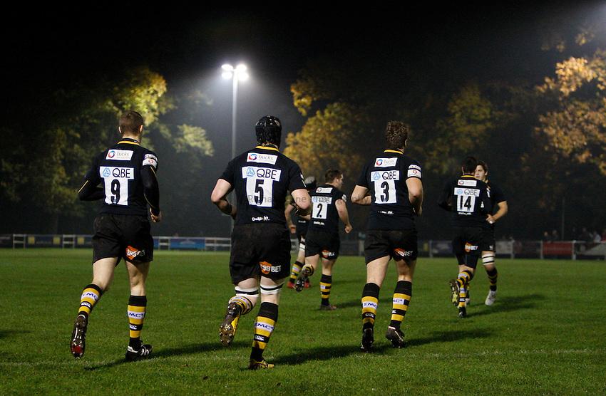 Photo: Richard Lane/Richard Lane Photography. London Wasps A v Harlequins A. Aviva A League. 01/11/2010. Wasps players run out.