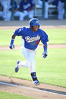 Willie Calhoun (36) of the Rancho Cucamonga Quakes runs to first base during a game against the San Jose Giants at LoanMart Field on August 30, 2015 in Rancho Cucamonga, California. Rancho Cucamonga defeated San Jose 8-3. (Larry Goren/Four Seam Images)