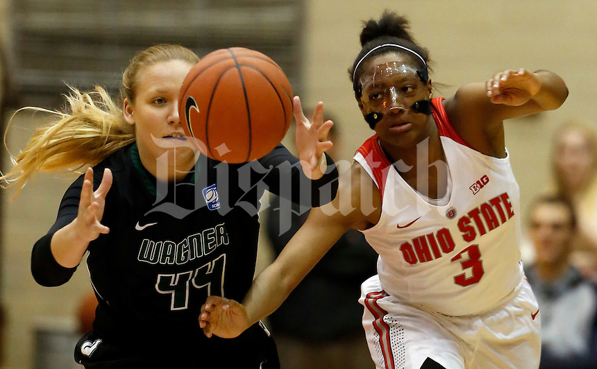 Ohio State Buckeyes guard Kelsey Mitchell (3) takes the ball from Wagner Seahawks guard/forward Julia McClure (44) in the first half of their game at the St. Johns Arena in Columbus, Ohio on November 22, 2015. (Columbus Dispatch photo by Brooke LaValley)