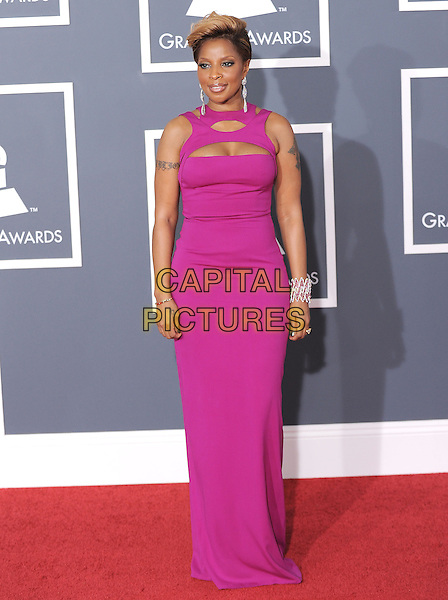 MARY J. BLIGE.Arrivals at the 52nd Annual GRAMMY Awards held at The Staples Center in Los Angeles, California, USA..January 31st, 2010.grammys full length pink maxi dress tattoo sleeveless cut out away .CAP/RKE/DVS.©DVS/RockinExposures/Capital Pictures