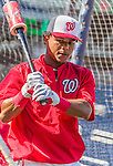19 September 2015: Washington Nationals infielder Wilmer Difo awaits his turn in the batting cage prior to a game against the Miami Marlins at Nationals Park in Washington, DC. The Nationals defeated the Marlins 5-2 in the third game of their 4-game series. Mandatory Credit: Ed Wolfstein Photo *** RAW (NEF) Image File Available ***