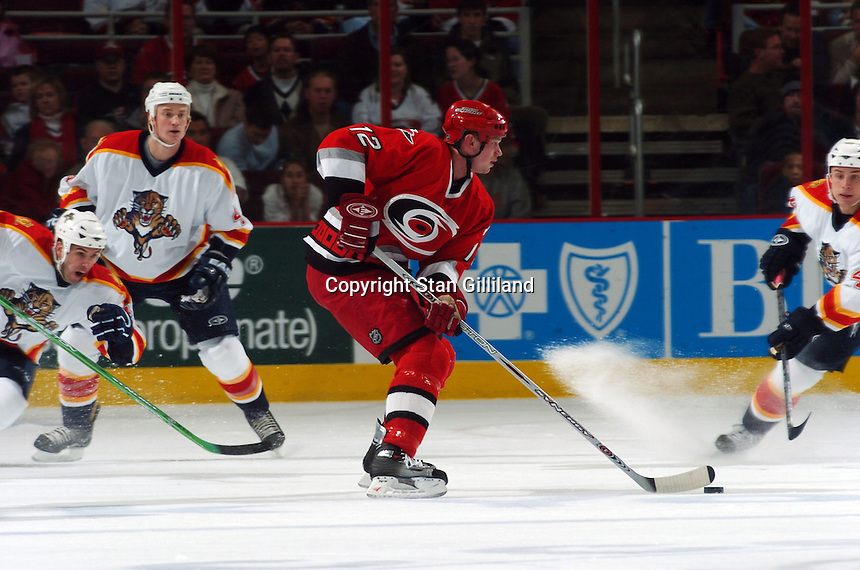 The Carolina Hurricanes' Eric Staal moves the puck against the Florida Panthers Friday, Dec. 23, 2005 in Raleigh, NC. Carolina won 4-3.