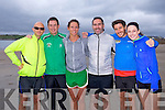 Liam Hurrell, Declan O'Keeffe, Carol O'Brien, James Dalton, Damian Willmott and Liz Glover at the The Brandon Bay half marathon and 10k run, Ireland's first and only running event entirely run on a beach,  in the Maharees, Castlegregory,  on Saturday