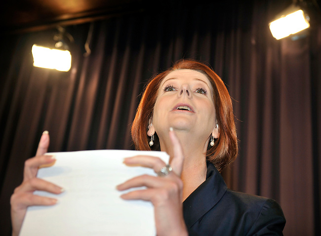 Julia Gillard, the Australian Prime Minister, gets ready for a speech about the Governments Plan for a Clean Energy Future, at the National Press Club Canberra, Australia, on Thursday, July 14, 2011. Photographer: Mark Graham/Bloomberg