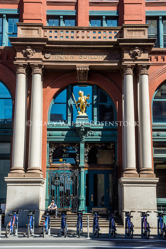 New York, NY 8 May 2016 Entrance to the Puck Building in the Noho neighborhood of Manhattan.