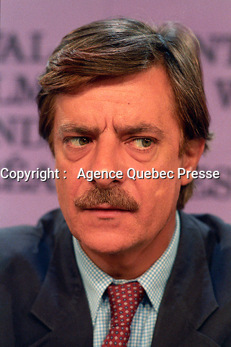 August 25 1989 File Photo - Montreal (Qc) CANADA - - Giancarlo Giannini  during a news conference at Montreal World Film Festival. Giancarlo Giannini is an Oscar-nominated Italian actor, director and multilingual dubber who made an international reputation for his leading roles in Italian films as well as for his mastery of a variety of languages and dialects. He was born August 1, 1942, in La Spezia, Italy