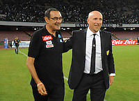 Maurizio Sarri and Rolando Maran  during the  italian serie a soccer match,between SSC Napoli and AC Chievo       at  the San  Paolo   stadium in Naples  Italy , September 25, 2016