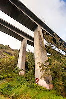 A view of the underside of H-3 Freeway in Haiku valley, Kaneohe, O'ahu