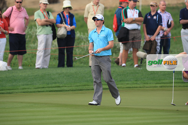 Rory McIlroy on the 13th green on day 3 of the Abu Dhabi HSBC Golf Championship 2011, at the Abu Dhabi golf club, UAE. 22/1/11..Picture Fran Caffrey/www.golffile.ie.