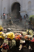 Flowers on sale in front of the church of Santo Tomas in Chichicastenango.