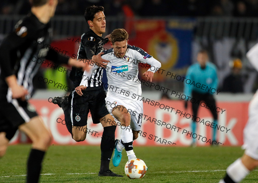 Viktorija Pilsen's Patrik Hrosovsky UEFA Europa League round of 32 first leg football match between Partizan and Viktoria Plzenj in Belgrade, Serbia on February 15, 2018. Match ended 1-1  foto: Pedja Milosavljevic / STARSPORT