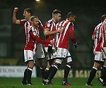 Leon Clarke of Sheffield Utd celebrates his first goal during the Checkatrade Trophy match at Blundell Park Stadium, Grimsby. Picture date: November 9th, 2016. Pic Simon Bellis/Sportimage