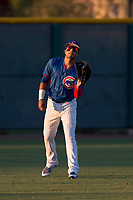 AZL Cubs 2 left fielder Alonso Gaitan (25) warms up between innings of an Arizona League game against the AZL Reds at Sloan Park on June 18, 2018 in Mesa, Arizona. AZL Cubs 2 defeated the AZL Reds 4-3. (Zachary Lucy/Four Seam Images)