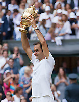 Roger Federer (SUI) celebrates winning the Wimbledon Mens Title, defeating Marin Cilic (CRO), Wimbledon Championships 2017, Day 13, Mens Final, All England Lawn Tennis & Croquet Club, Church Rd, London, United Kingdom - 16th July 2017