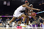 COLUMBUS, OH - APRIL 1: Jordan Danberry #24 of the Mississippi State Bulldogs and Jackie Young #5 of the Notre Dame Fighting Irish chase a loose ball during the championship game of the 2018 NCAA Division I Women's Basketball Final Four at Nationwide Arena in Columbus, Ohio. (Photo by Justin Tafoya/NCAA Photos via Getty Images)