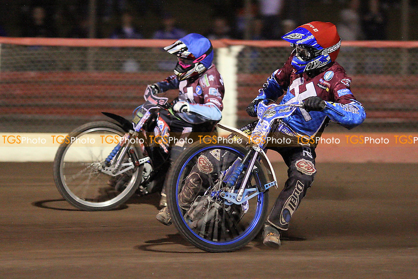 Heat 12: Kauko Nieminen (red) and Rob Mear (blue) on their way to a 5-1 - Lakeside Hammers vs Peterborough Panthers - Elite League Speedway at Arena Essex Raceway - 19/08/11 - MANDATORY CREDIT: Gavin Ellis/TGSPHOTO - Self billing applies where appropriate - 0845 094 6026 - contact@tgsphoto.co.uk - NO UNPAID USE.