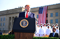 United States President Donald J. Trump makes a statement in front of the Pentagon during the 18th anniversary commemoration of the September 11 terrorist attacks, in Arlington, Virginia on Wednesday, September 11, 2019.   <br /> Credit: Kevin Dietsch / Pool via CNP /MediaPunch