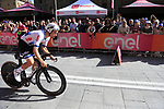 European Champion Victor Campenaerts (BEL) Lotto Soudal powers off the start ramp of Stage 1 of the 2019 Giro d'Italia, an individual time trial running 8km from Bologna to the Sanctuary of San Luca, Bologna, Italy. 11th May 2019.<br /> Picture: Eoin Clarke | Cyclefile<br /> <br /> All photos usage must carry mandatory copyright credit (© Cyclefile | Eoin Clarke)